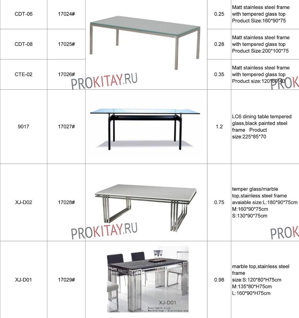 Дизайнерские обеденные столы метал+стекло-1