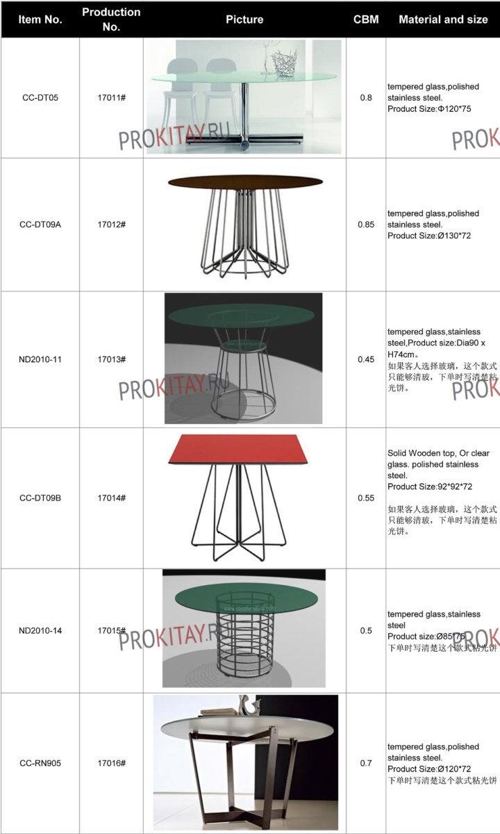 Дизайнерские обеденные столы метал+стекло-0