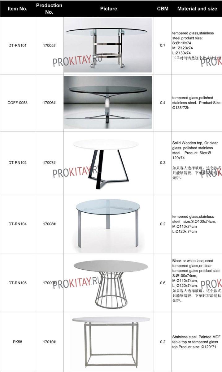 Дизайнерские обеденные столы метал+стекло-3