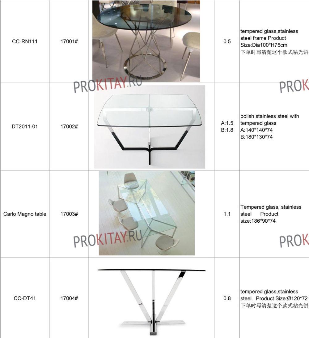 Дизайнерские обеденные столы метал+стекло-4