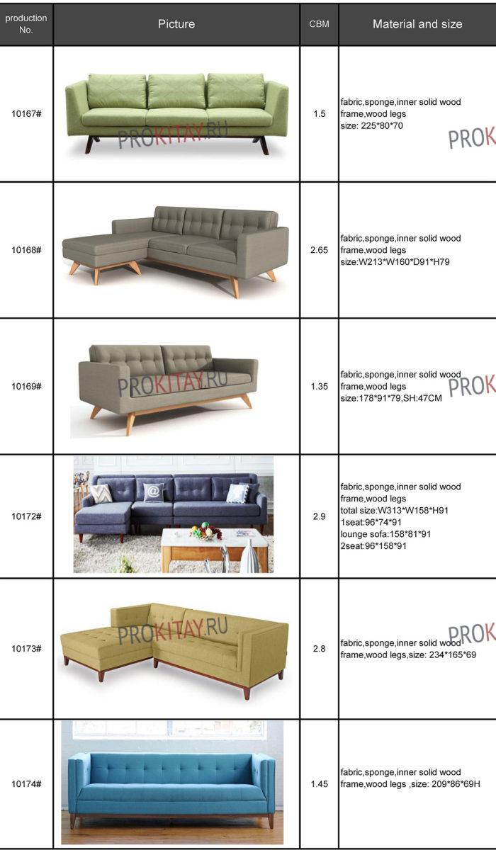 Современные диваны из Китая: табличный каталог-0