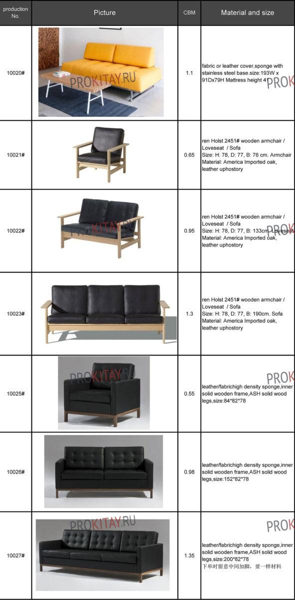 Современные диваны из Китая: табличный каталог-4